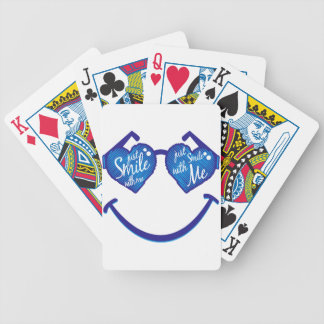 just smile with me, love and glases bicycle playing cards