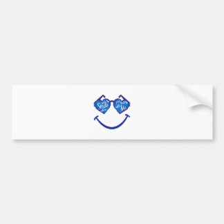 just smile with me, love and glases bumper sticker