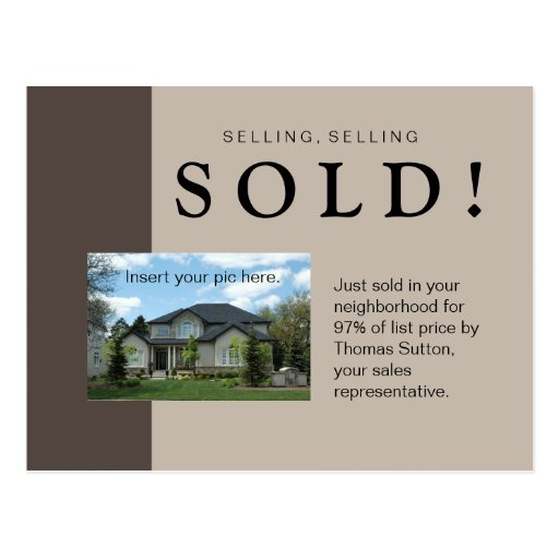 Just Sold Real Estate Postcard Taupe