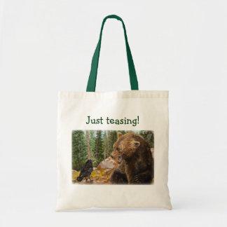 Just teasing! Crow Raven Bear wildlife tote bag