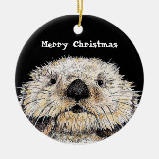 Just To Cute ! Merry Christmas Ceramic Ornament