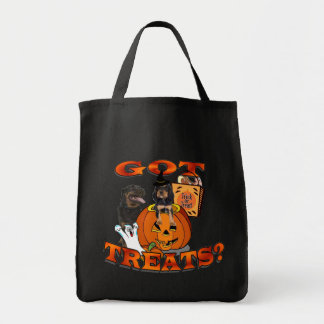 Just Too Cute Rottweiler Puppy Accompanied by Papa Grocery Tote Bag
