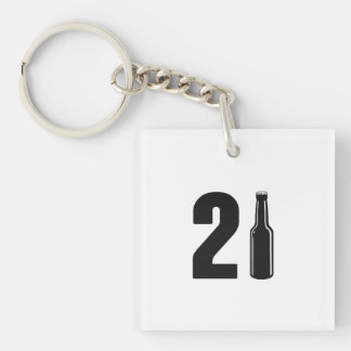 Just Turned 21 Beer Bottle 21st Birthday Double-Sided Square Acrylic Keychain