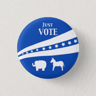 Just Vote White Blue Stars Donkey Elephant 1 Inch Round Button