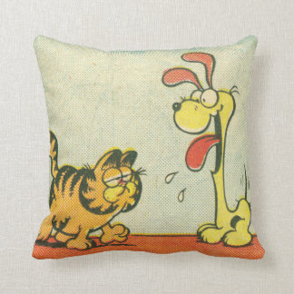 """Just Walking By"" Garfield & Odie Throw Pillow"