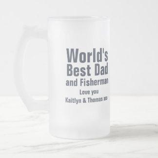 Juste pêche du meilleurs papa du monde et verre de mug en verre givré