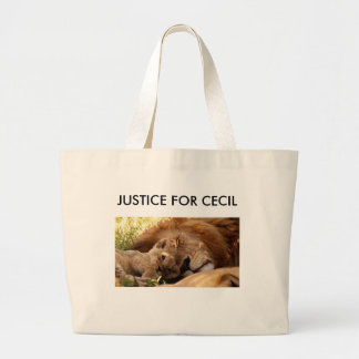 Justice for Cecil the Lion with his Cub Large Tote Bag