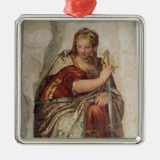 Justice, from the walls of the sacristy (fresco) Silver-Colored square ornament