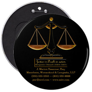 Justice in Action (Personalized Promotional Gift) 6 Inch Round Button