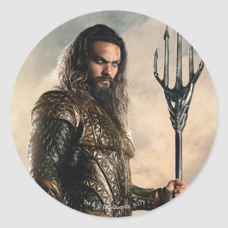 Justice League | Aquaman On Battlefield Classic Round Sticker