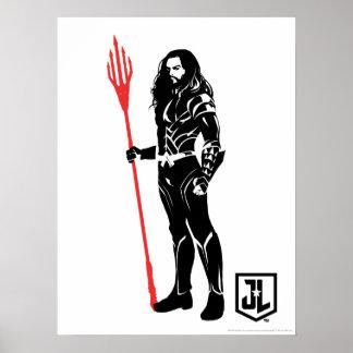 Justice League   Aquaman Pose Noir Pop Art Poster
