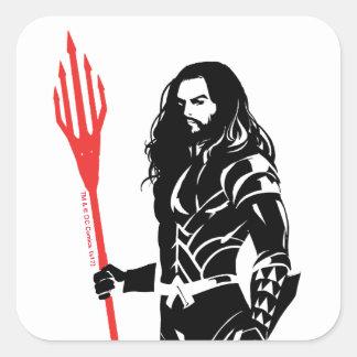 Justice League | Aquaman Pose Noir Pop Art Square Sticker
