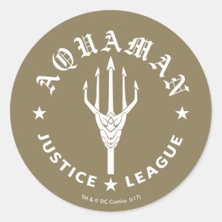 Justice League | Aquaman Retro Trident Emblem Classic Round Sticker