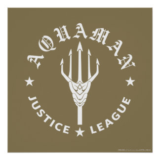 Justice League | Aquaman Retro Trident Emblem Poster