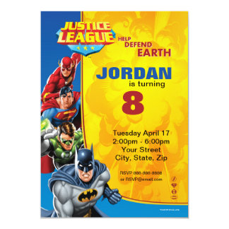 "Justice League Birthday Birthday 5"" X 7"" Invitation Card"