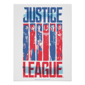 Justice League | Blue & Red Group Pop Art Poster