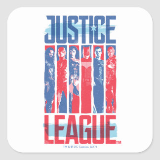 Justice League | Blue & Red Group Pop Art Square Sticker