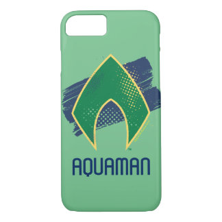 Justice League | Brush & Halftone Aquaman Symbol Case-Mate iPhone Case