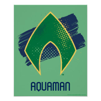 Justice League | Brush & Halftone Aquaman Symbol Poster