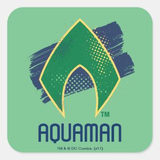 Justice League | Brush & Halftone Aquaman Symbol Square Sticker