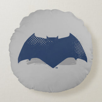 Justice League | Brush & Halftone Batman Symbol Round Pillow