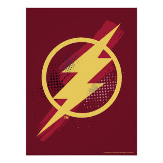 Justice League | Brush & Halftone Flash Symbol Poster