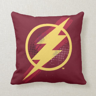 Justice League | Brush & Halftone Flash Symbol Throw Pillow