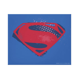 Justice League | Brush & Halftone Superman Symbol Canvas Print