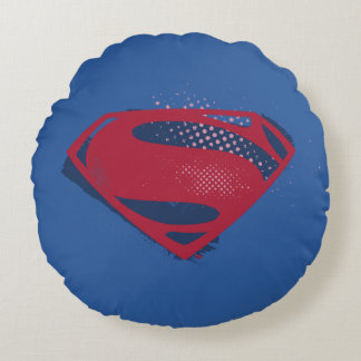 Justice League | Brush & Halftone Superman Symbol Round Pillow