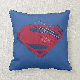 Justice League | Brush & Halftone Superman Symbol Throw Pillow