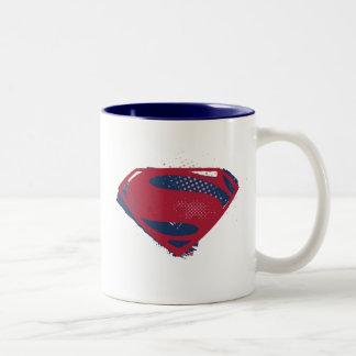 Justice League | Brush & Halftone Superman Symbol Two-Tone Coffee Mug