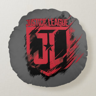 Justice League | Brushed Paint JL Shield Round Pillow