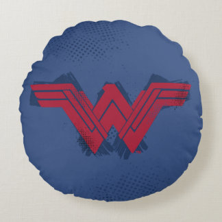 Justice League | Brushed Wonder Woman Symbol Round Pillow