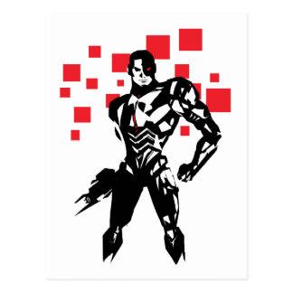 Justice League   Cyborg Digital Noir Pop Art Postcard