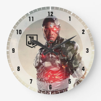 Justice League | Cyborg On Battlefield Large Clock