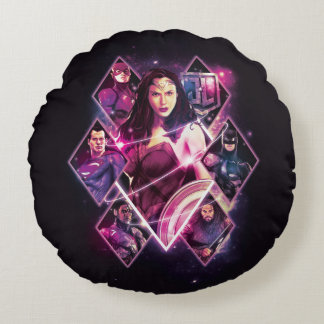 Justice League | Diamond Galactic Group Panels Round Pillow