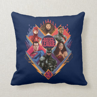 Justice League | Diamond Hatch Group Badge Throw Pillow