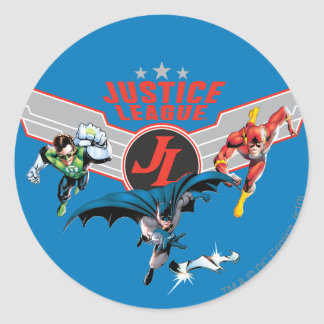 Justice League Flying Air Badge and Heroes Round Sticker