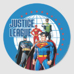 Justice League Global Heroes Round Sticker