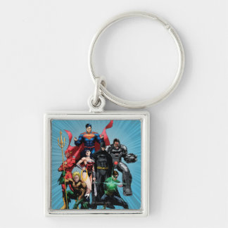 Justice League - Group 2 Silver-Colored Square Keychain