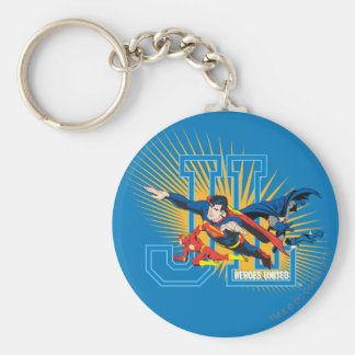 Justice League Heroes United Basic Round Button Keychain