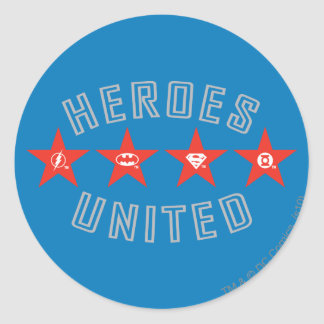 Justice League Heroes Untied Logos Round Sticker
