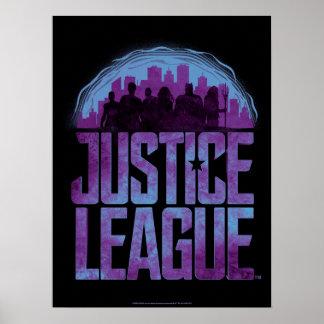 Justice League   Justice League City Silhouette Poster