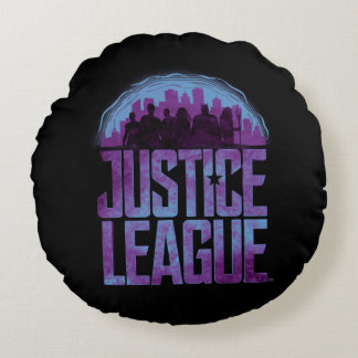 Justice League | Justice League City Silhouette Round Pillow