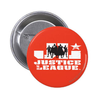 Justice League Logo and Character Silhouettes 2 Inch Round Button