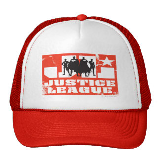 Justice League Logo and Character Silhouettes Trucker Hat