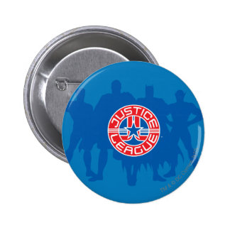Justice League Logo and Solid Character Background 2 Inch Round Button