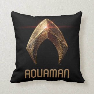 Justice League | Metallic Aquaman Symbol Throw Pillow
