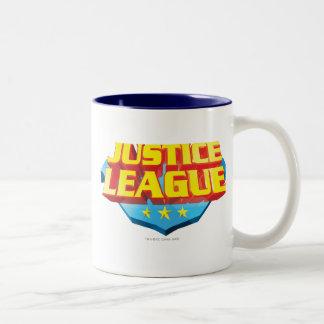 Justice League Name and Shield Logo Coffee Mug