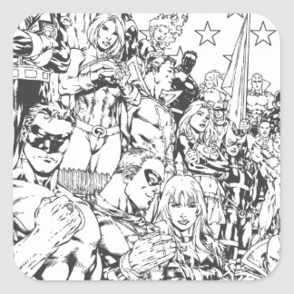 Justice League of America First Issue B/W Square Sticker